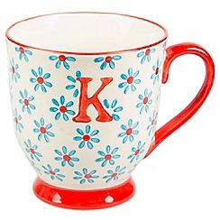 Sass & Belle - Multi-coloured 'Bohemian' letter K mug