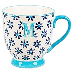 Sass & Belle - Multi-coloured 'Bohemian' letter M mug