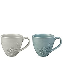 Denby - Grey and green set of 2 'Monsoon Gather' mugs