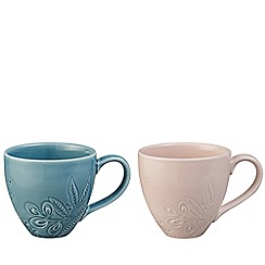 Denby - Blue and pink set of 2 'Monsoon Gather' mugs