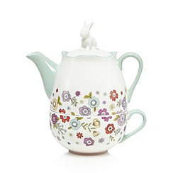 At home with Ashley Thomas - White floral print rabbit tea for one set