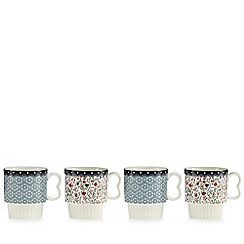 At home with Ashley Thomas - Pack of 4 floral print stacking mugs