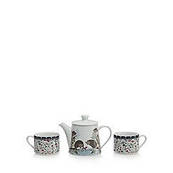 At home with Ashley Thomas - White woodland print tea for two set