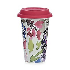 At home with Ashley Thomas - Multi-coloured floral print porcelain travel mug