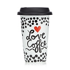 Ben de Lisi Home - Black and white 'Love coffee' travel mug