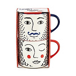 Home Collection - Set of two multi-coloured 'His and Hers' stacking mugs