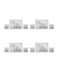 Home Collection - Set of four polar bear placemats and four coasters