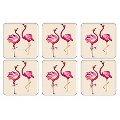 Sara Miller - Set of 6 multi-coloured 'Flamingo' coasters