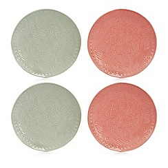Home Collection - 4 pack pink and pale green floral debossed coasters