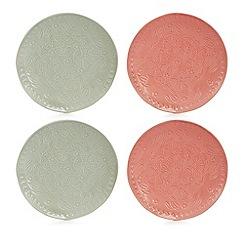 Debenhams - 4 pack pink and pale green floral debossed coasters