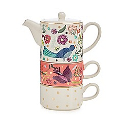 Debenhams - Multicoloured bird print tea for two teapot