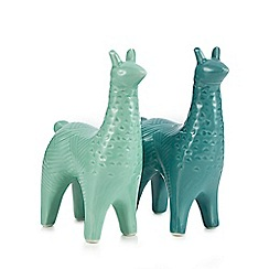 Debenhams - Green porcelain llama salt and pepper shakers