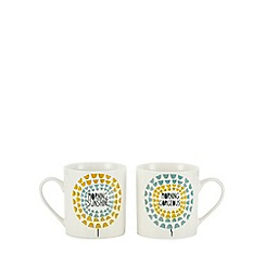 Home Collection - 2 pack white 'Morning' mugs