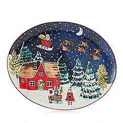 Home Collection - Multicoloured Christmas print medium platter dish