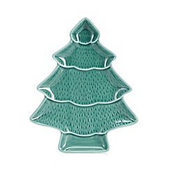 Home Collection - Green Christmas tree platter dish