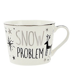 Home Collection - White reindeer print 'Snow Problem' mug