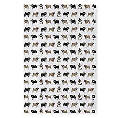 Fenella Smith - Multi-coloured Pug print cotton tea towel