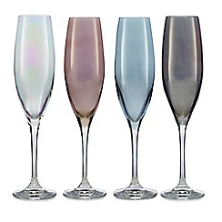Star by Julien Macdonald - Set of four mixed lustre flute glasses