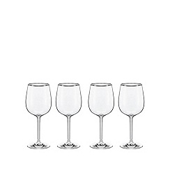 Home Collection - Set of four glass 'Platinum Band' wine glasses