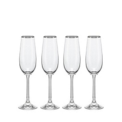 Home Collection - Set of four glass 'Platinum Band' champagne flutes