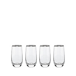 Home Collection - Set of four glass 'Platinum Band' hiball glasses