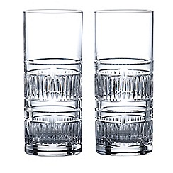 Royal Doulton - Set of 2 lead crystal 'Radial' hi-ball glasses
