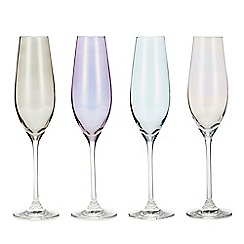 Star by Julien Macdonald - Set of 4 Mixed Lustre Champagne Flutes