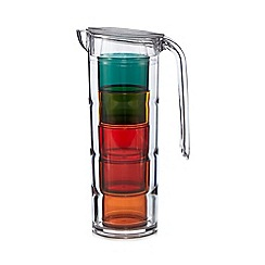 Home Collection - Multi-coloured plastic stack tumblers in a jug