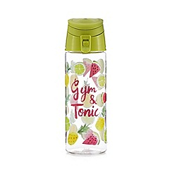 At home with Ashley Thomas - Green 'Gym & Tonic' fruit print water bottle