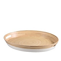 Kaemingk - White and natural bamboo tray