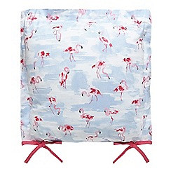 At home with Ashley Thomas - Blue flamingo print seat pad