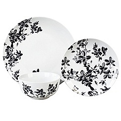 Home Collection - Set of 12 black floral print dinner set