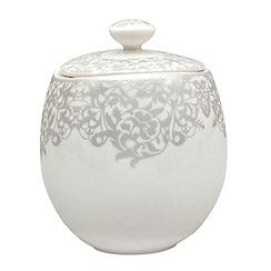 Denby - 'Monsoon Filigree Silver' covered sugar bowl