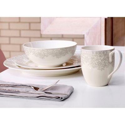 Denby \'Monsoon Filigree Silver\' 16 piece dinnerware set | Debenhams