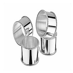 Arthur Price - Set of 4 silver plated mounted Napkin Rings with a beaded border