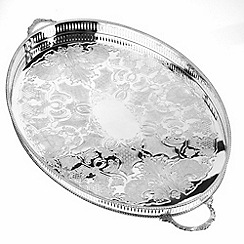 Arthur Price - Silver plated home tableware 18 inch oval mounted Gallery Tray with handles