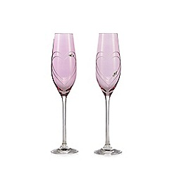 Star by Julien Macdonald - Set of 2 pink Swarovski crystal heart print champagne flutes