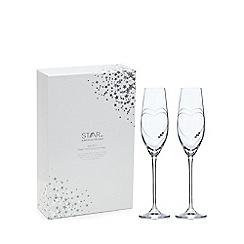 Star by Julien Macdonald - Set of 2 Swarovski crystal heart hand cut champagne flutes