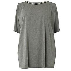 Dorothy Perkins - Curve charcoal embellished neck batwing top