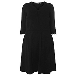 Dorothy Perkins - Dp curve black ruched v-neck lace trim dress