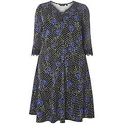 Dorothy Perkins - Dp curve multi coloured floral print v-neck lace trim dress