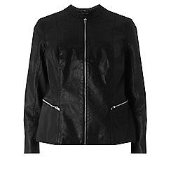 Dorothy Perkins - Curve black polyurethane collarless biker jacket