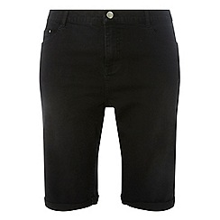 Dorothy Perkins - Curve black washed black knee shorts