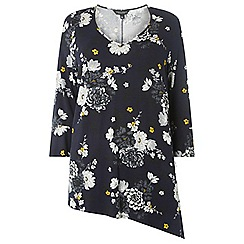 Dorothy Perkins - Dp curve navy floral v-neck tunic top