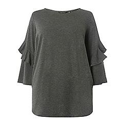 Dorothy Perkins - Curve grey twist frill sleeve t-shirt