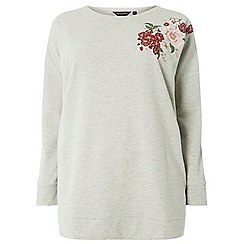 Dorothy Perkins - Curve grey embroidered jumper