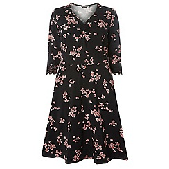 Dorothy Perkins - Curve mulit coloured floral lace fit and flare dress