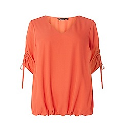 Dorothy Perkins - Curve coral ruched sleeves top