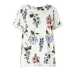 Dorothy Perkins - Curve floral print lace hem top