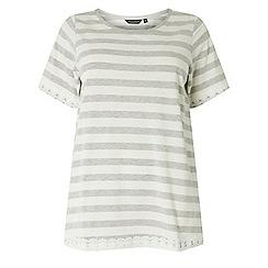 Dorothy Perkins - Dp curve grey striped lace hem top